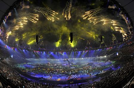 Fireworks explode above the Olympic Stadium during the closing ceremony of the London 2012 Paralympic Games
